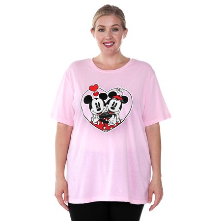 Women's Mickey & Minnie Mouse Love Plus Size T-Shirt Pink