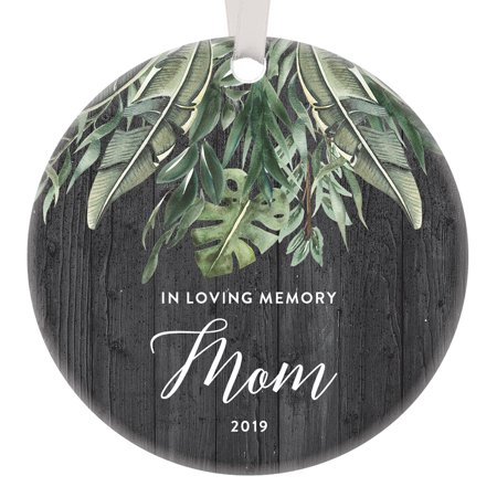 In Loving Memory of Mom 2019 Memorial Ornament Sympathy Christmas Tribute Wonderful Mother's Day From The Heart Cherished Missed In Our Thoughts Beautiful Holiday Tropical 3