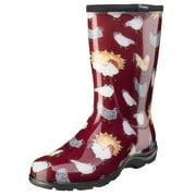 Sloggers Women's Rain & Garden Boots - Barn Red Chicken Print