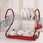 Stainless Steel Dish Drying Rack Drainer Kitchen Storage 2 Tier