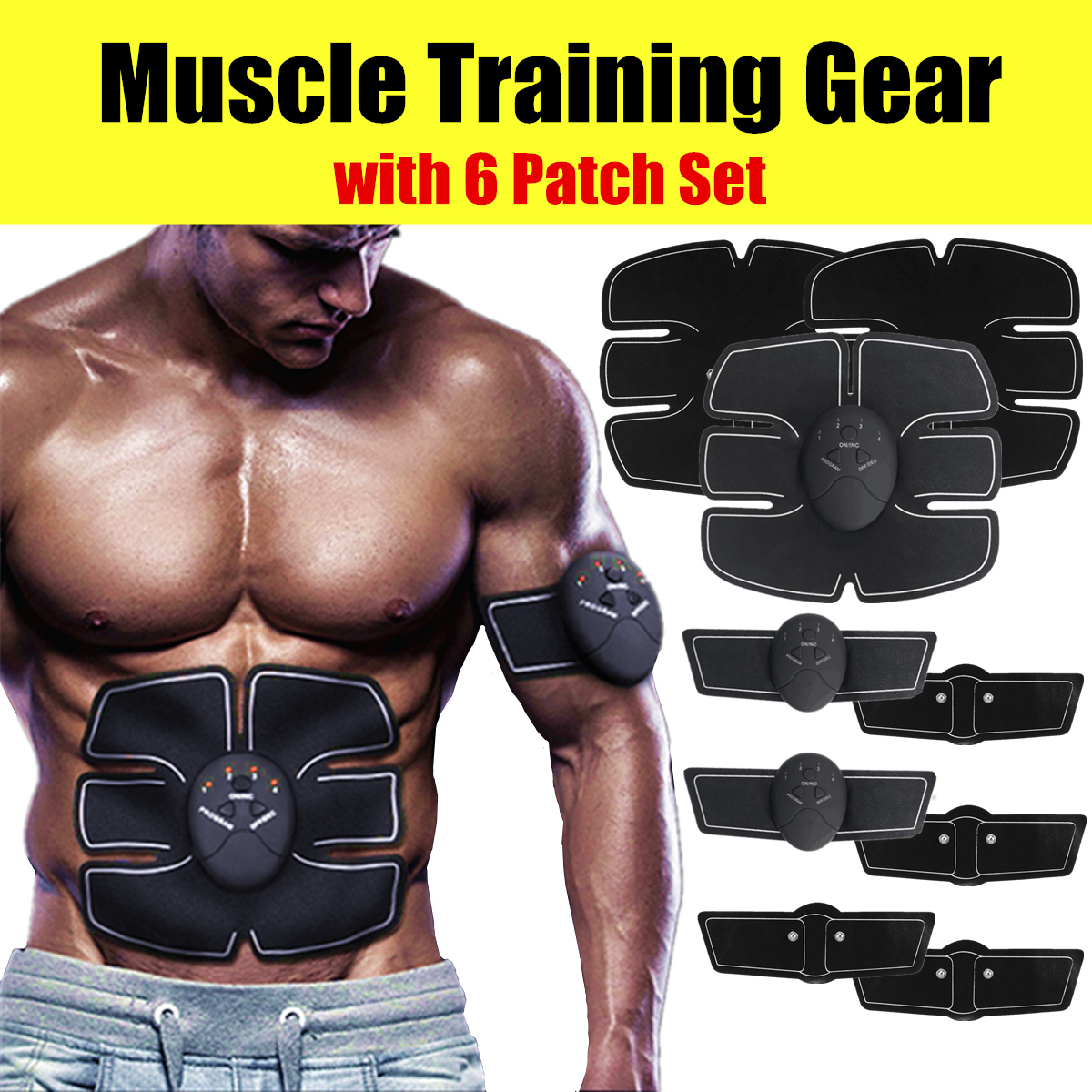 Electric Abdominal Toning Belt Muscle Trainer ABS Stimulator Smart Body Building Fitness For Abdomen/Arm/Leg/Hip Training