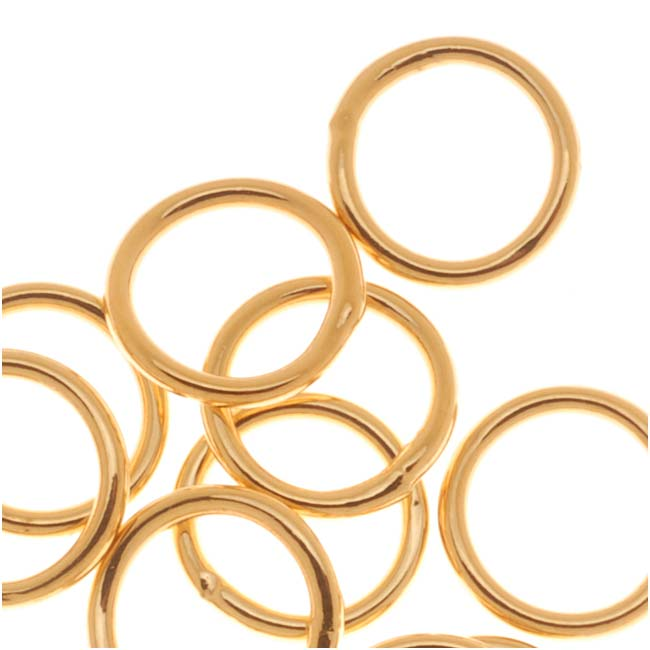22K Gold Plated Closed 8mm Jump Rings 17 Gauge (20)