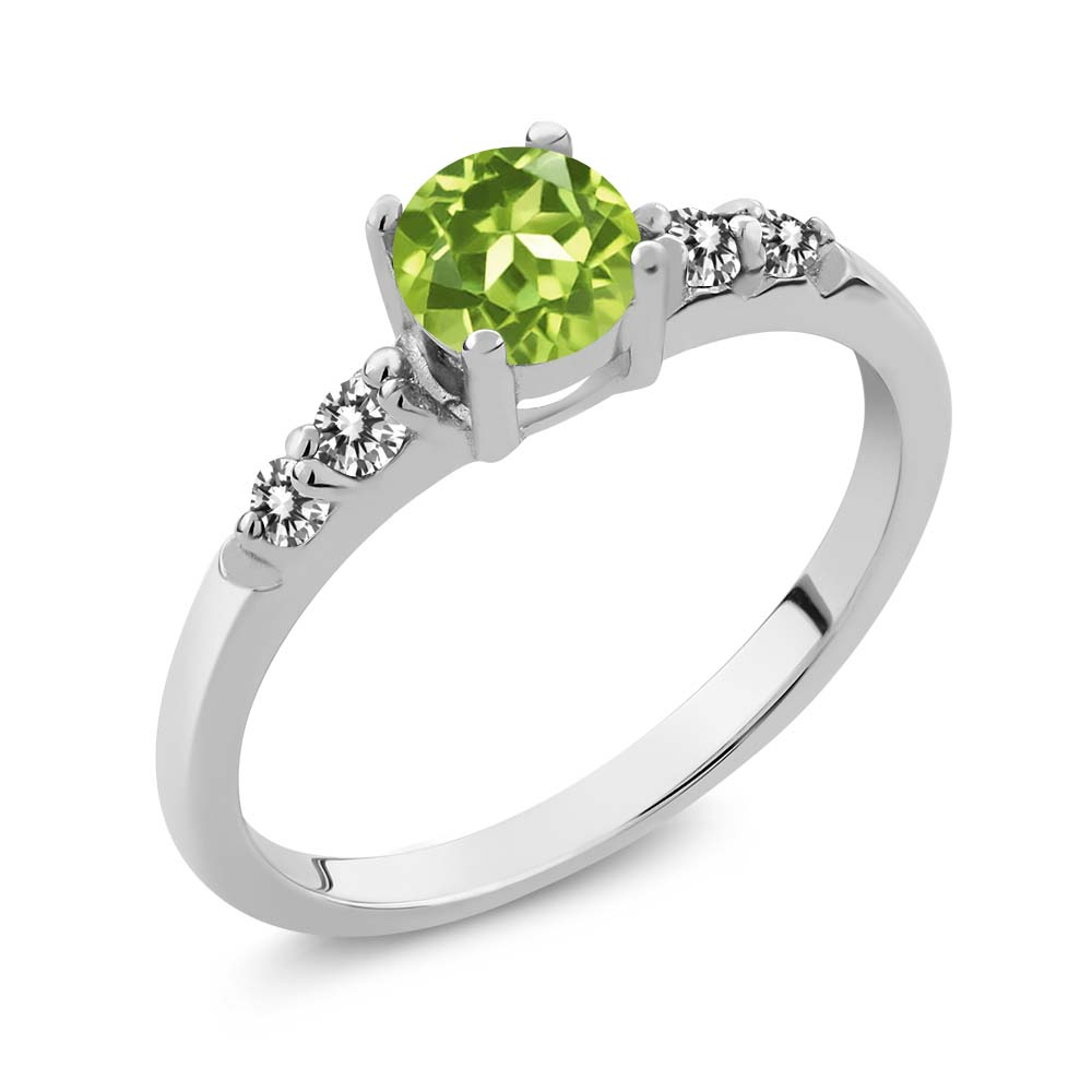 0.79 Ct Round Green Peridot White Diamond 925 Sterling Silver Ring by