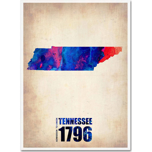 "Trademark Fine Art ""Tennessee Watercolor Map"" Canvas Art by Naxart"