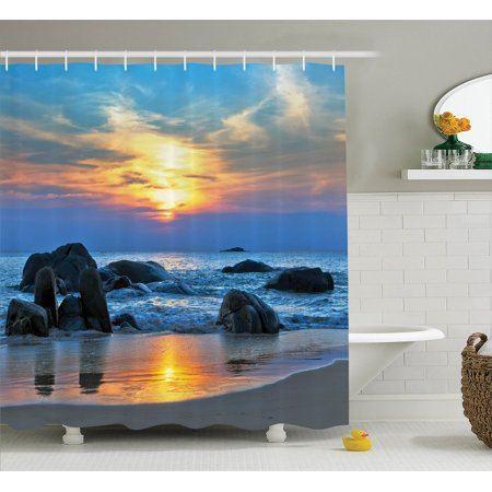 Seaside Rocks - Seaside Decor Shower Curtain Set, Sunset Scenery In Sandy Beach With Rocks And Waves Lonely Peace Morning Dream On Earth, Bathroom Accessories, 69W X 70L Inches, By Ambesonne