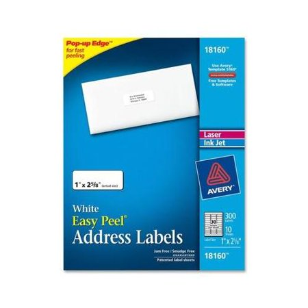 Avery Address Labels AVE18160 Address labels let you create professional-looking labels quickly and easily. They're great for high-volume mailing projects or to use for organizing and identification. The Pop-up Edge offers fast peeling. Simply bend the patented, Easy Peel label sheet to expose the label edge, peel and then fold the sheet back to flat in a jiffy. The labels are jam-free and smudge-free guaranteed for perfect printing every time. Customize your labels with free online, printable templates. Labels are compatible with laser and inkjet printers.