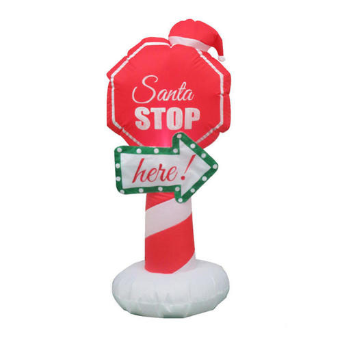 Christmas Inflatable Santa Stop Sign with Lights  Blower Airblown CSA 4ft (1.2m) - image 1 of 2