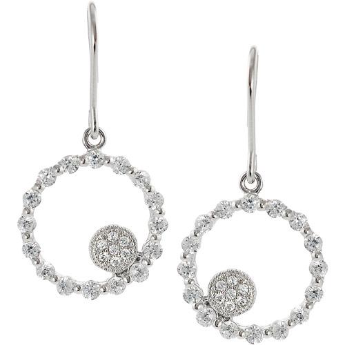 Brinley Co. Round CZ Sterling Silver Drop Earrings