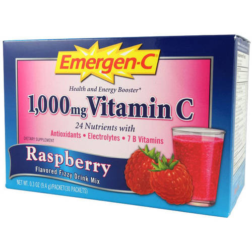Emergen C Flavored Fizzy Drink Mix, 1,000 mg Vitamin C, Raspberry, 30 CT by