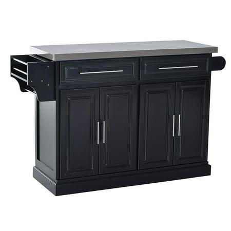 HOMCOM Modern Rolling Kitchen Island Storage Cart w/ Stainless Steel Top - White/Black