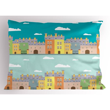 Dutch Pillow Sham Colorful Houses Traditional Architecture of Holland Cartoon Old Town Illustration, Decorative Standard Size Printed Pillowcase, 26 X 20 Inches, Multicolor, by Ambesonne