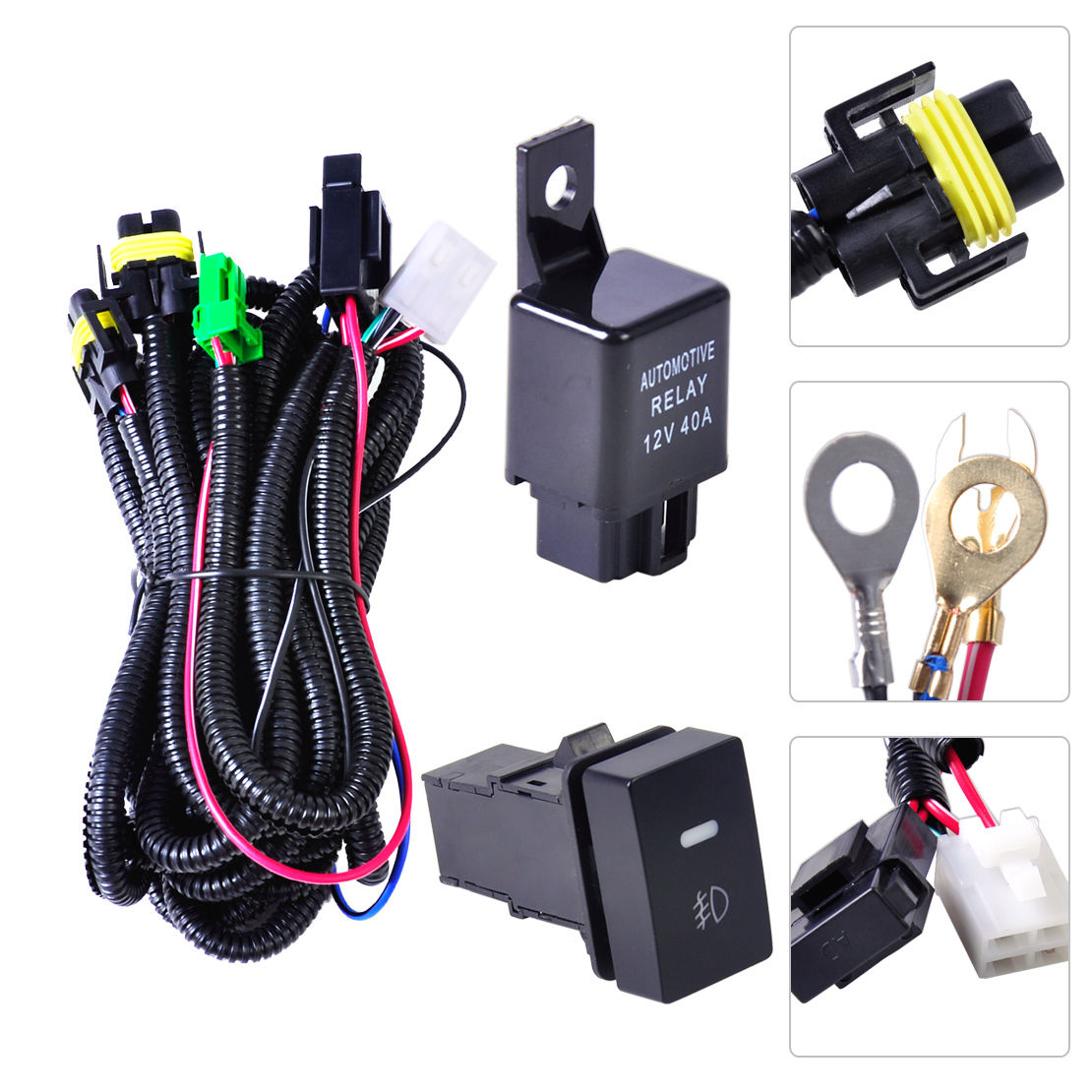 1 Set H11 Fog Light LED Indicators Switch Wiring Harness Kit Loom with  Automotive Relay For - Walmart.com - Walmart.comWalmart