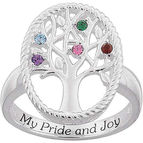 Personalized Mother's Sterling Silver Birthstone Family Tree Ring