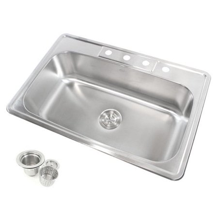Contempo Living Inc Stainless Steel Top Mount Drop-in Single Bowl Kitchen Sink Bowl Drop In Sink
