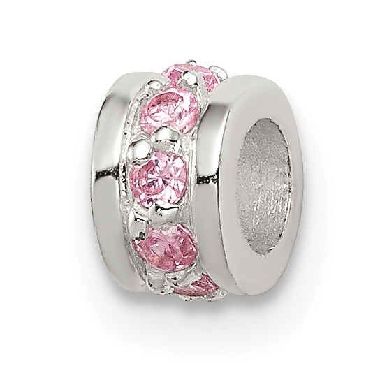 925 Sterling Silver Pink Cubic Zirconia Cz Spacer Enhancer Bead Stone Crystal Fine Jewelry Gifts For Women For Her - image 2 de 2