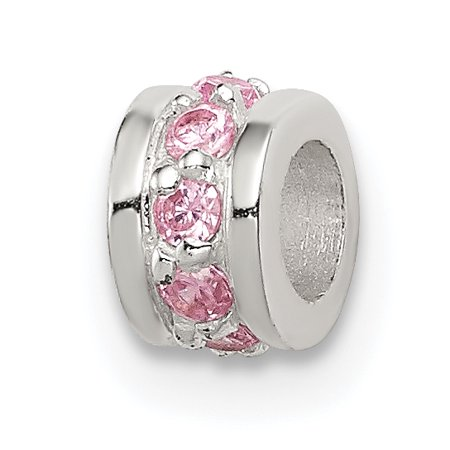 925 Sterling Silver Pink Cubic Zirconia Cz Spacer Enhancer Bead Stone Crystal Gifts For Women For (Bali Sterling Silver Spacer Beads)