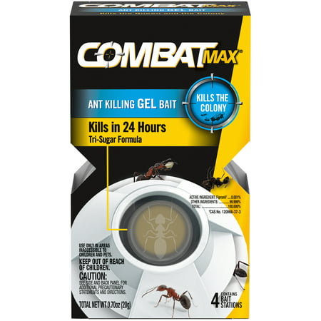Combat Max Ant Killing Gel Bait Station, Indoor and Outdoor Use, 4 (Best Way To Kill Ant Hills)