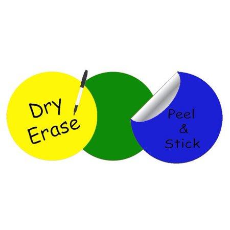 Dry Erase Dot Decals: Peel & Stick, Writable, Erasable (Yellow,Green,Blue)