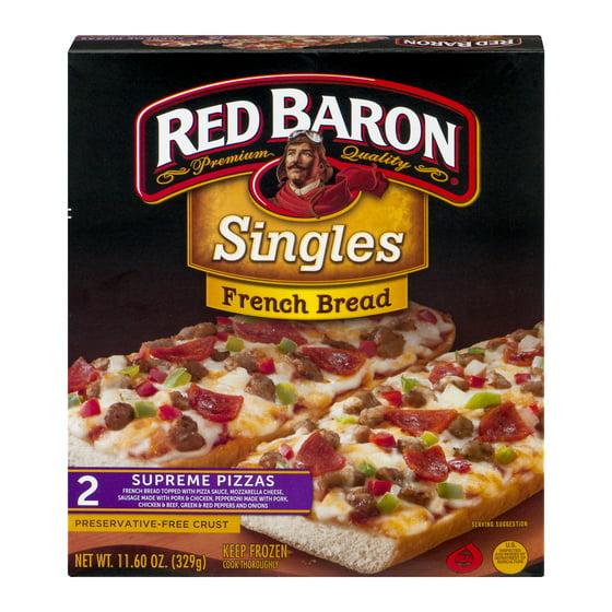 Red Baron Singles French Bread Supreme Pizzas 1160 Oz 2 Count