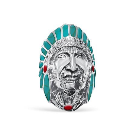 DTLA Tribal Heavy Native Indian 925 Sterling Silver Chief Head Turquoise Enamel