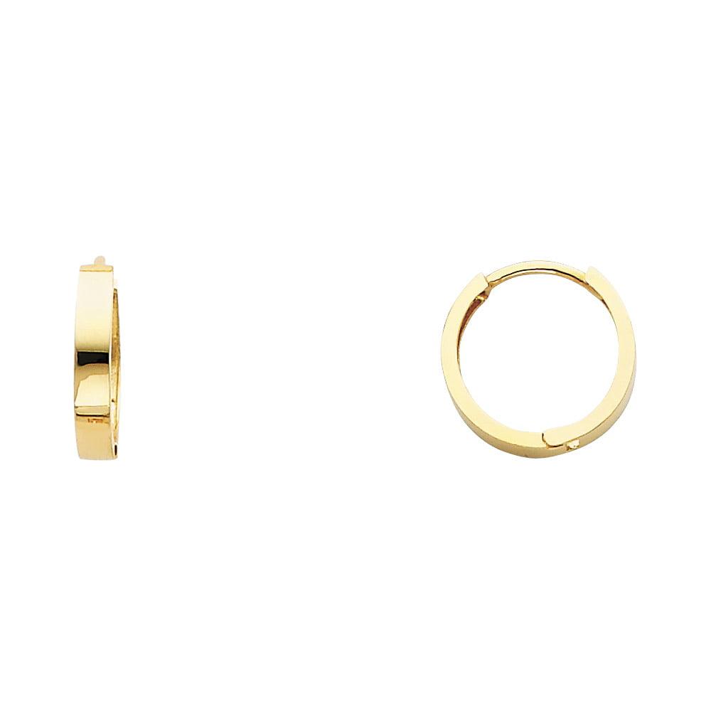 Plain Round Huggie Hoop Earrings Solid 14k Yellow Gold Square Tube Huggies Small