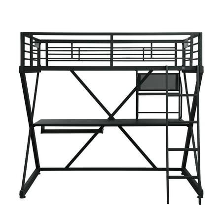 Powell Z Bedroom Full Size Study Loft Bunk Bed, Black