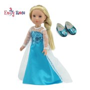"Glitter Girls Doll Clothes by Emily Rose 14 Inch Doll Clothes for Wellie Wishers | Princess Elsa Frozen Inspired 14"" Doll Dress with Shoes! 