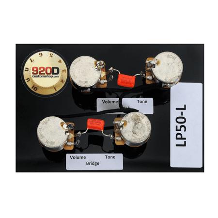 920D Custom Shop Les Paul Pre-Wired Harness Orange Drop Caps & Long Shaft CTS