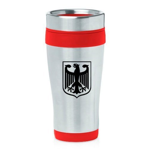 16oz Insulated Stainless Steel Travel Mug Coat of Arms Germany Eagle (Red),MIP by