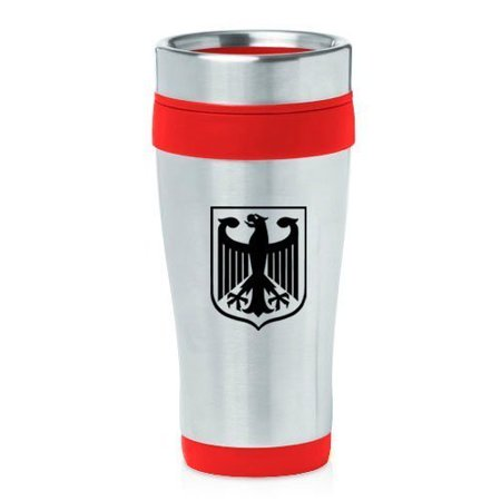 German Eagle Coat Of Arms - 16oz Insulated Stainless Steel Travel Mug Coat of Arms Germany Eagle (Red),MIP