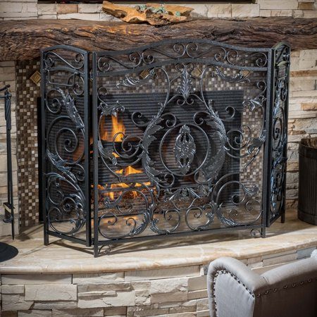 Noble House Waterbury Fireplace Screen,Silver (Contemporary Wood Fireplace Screen)