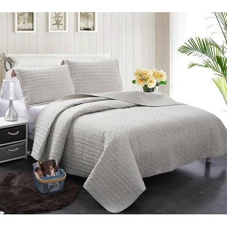 Jml 3 Pieces Solid Grey Lightweight 100 Cotton Quilt Set Bedspread Full Queen Size