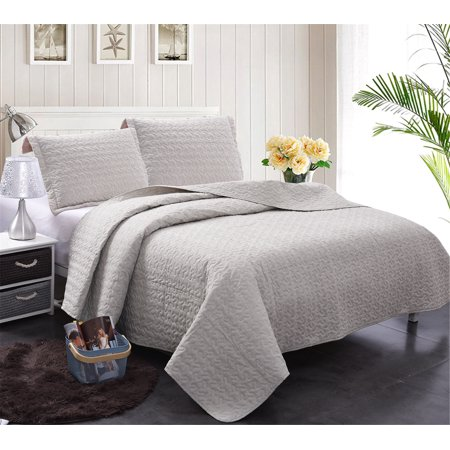 Jml 3 Pieces Solid Grey Lightweight 100 Cotton Quilt Set