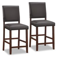 Leick Home Wood Upholstered Back Counter Height Stool with Ebony Faux Leather Seat, Set of 2