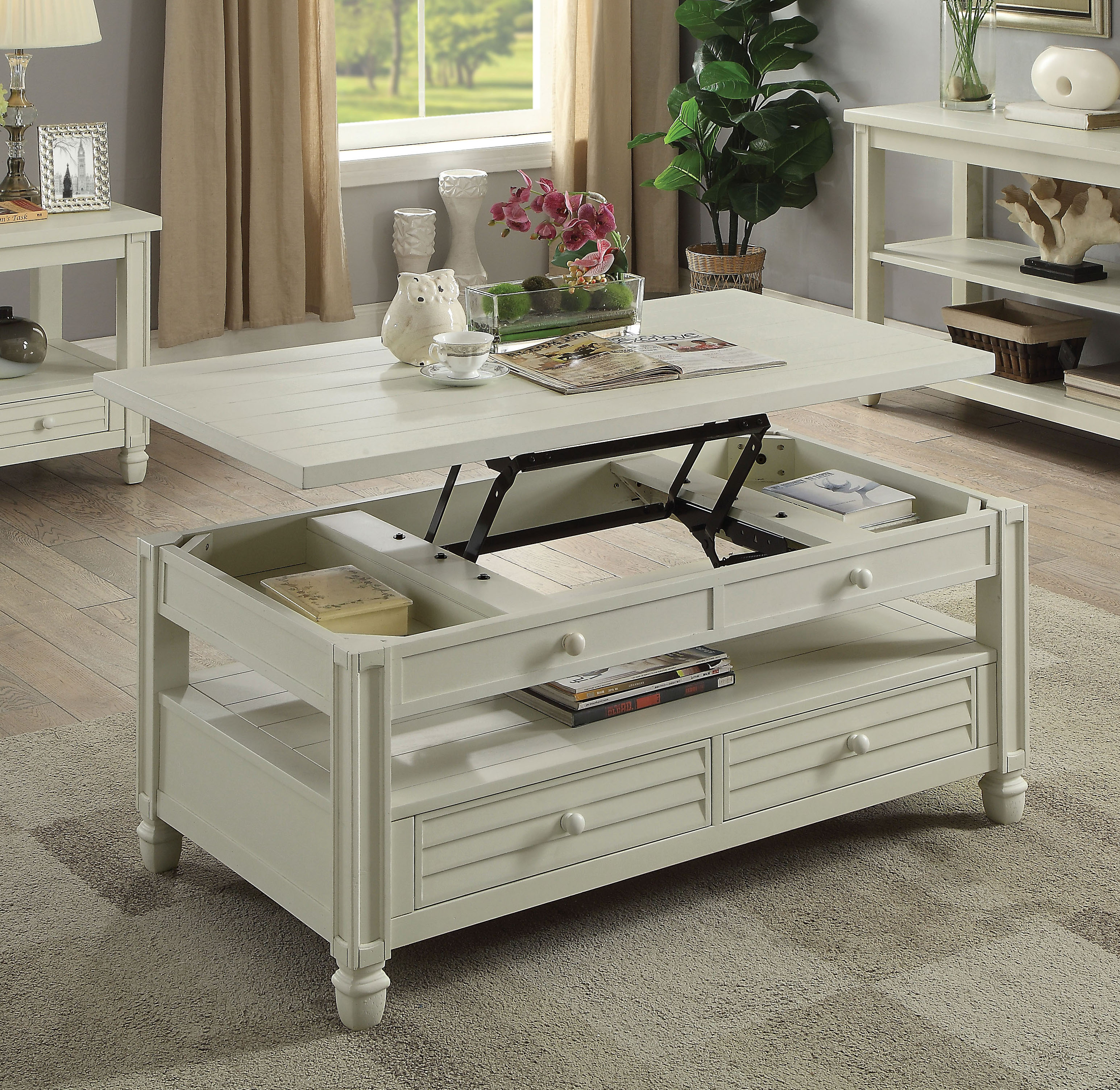 Furniture Of America Wahlberg Rustic Louvered Antique White Coffee Table