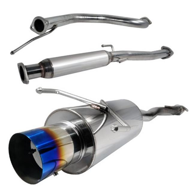 Spec-D Tuning MFCAT2-CV92T-SD 2.5 in. Inlet N1 Style Catback Exhaust System with Burnt Tip for 92 to 00 Honda Civic, 11 x 12 x 45 in.