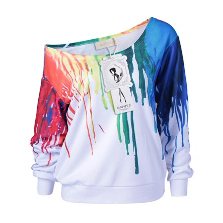 - Paint Drip Skew Collar Sweatshirt