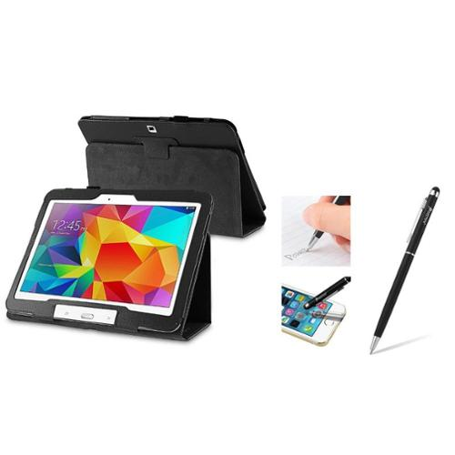Insten Black Stand Leather Cover Case with Ballpoint Pen Stylus For Samsung Galaxy Tab 4 10.1 SM-T530 Tab4 10-Inch 10.1""