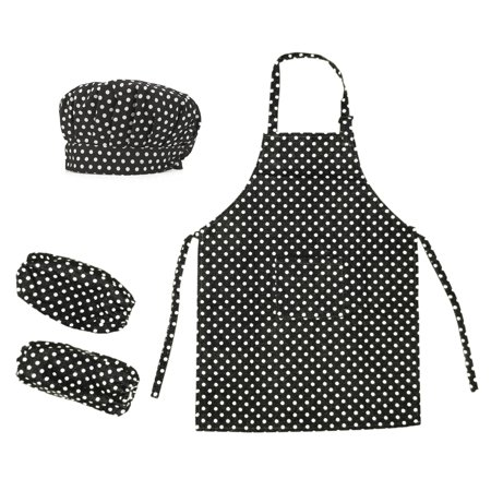 Opromo Colorful Cotton Canvas Kids Apron, Chef Hat and Oversleeve Set, Party -