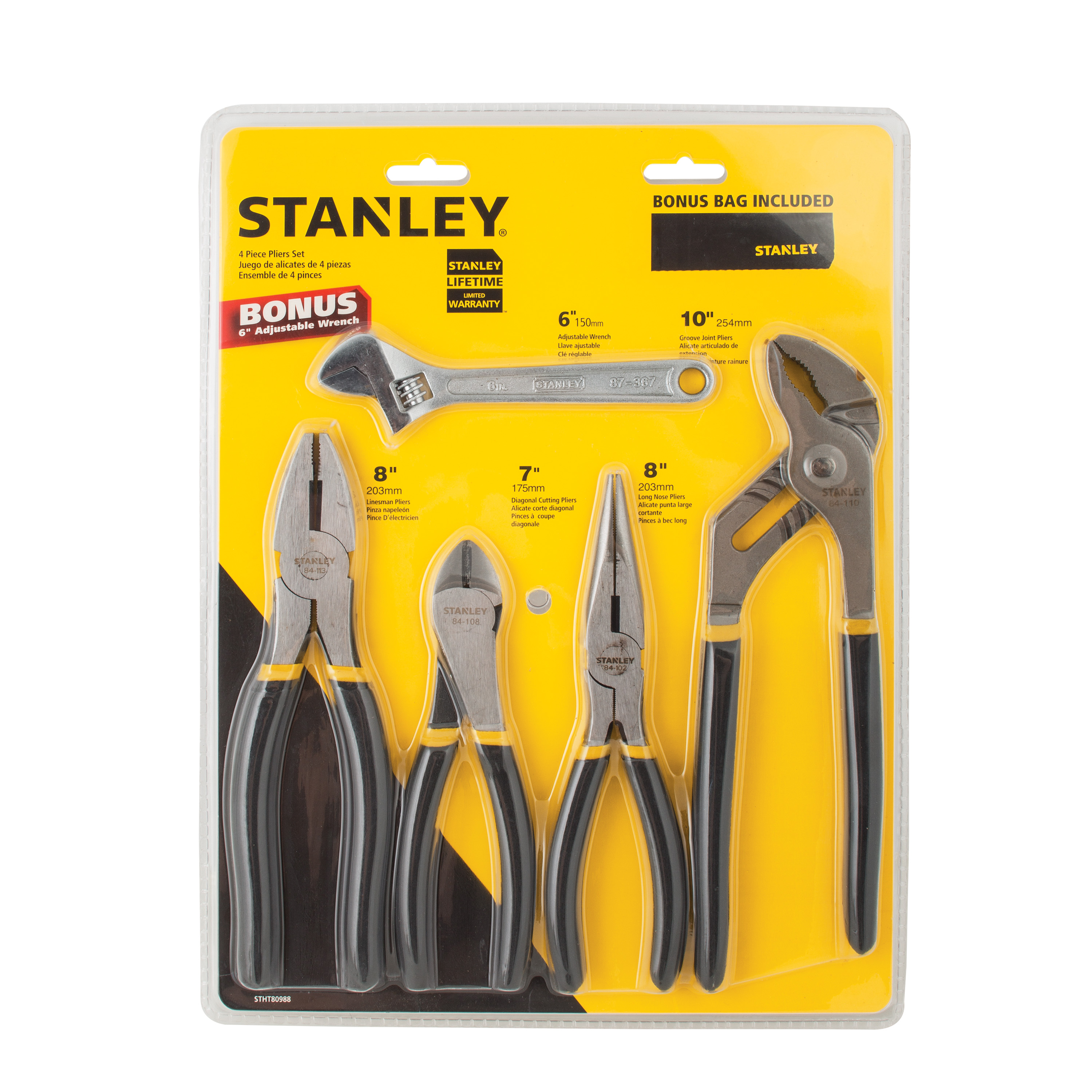 "STANLEY STHT80988WMT 4pc Plier Set With Bonus 6"" Adjustable Wrench"