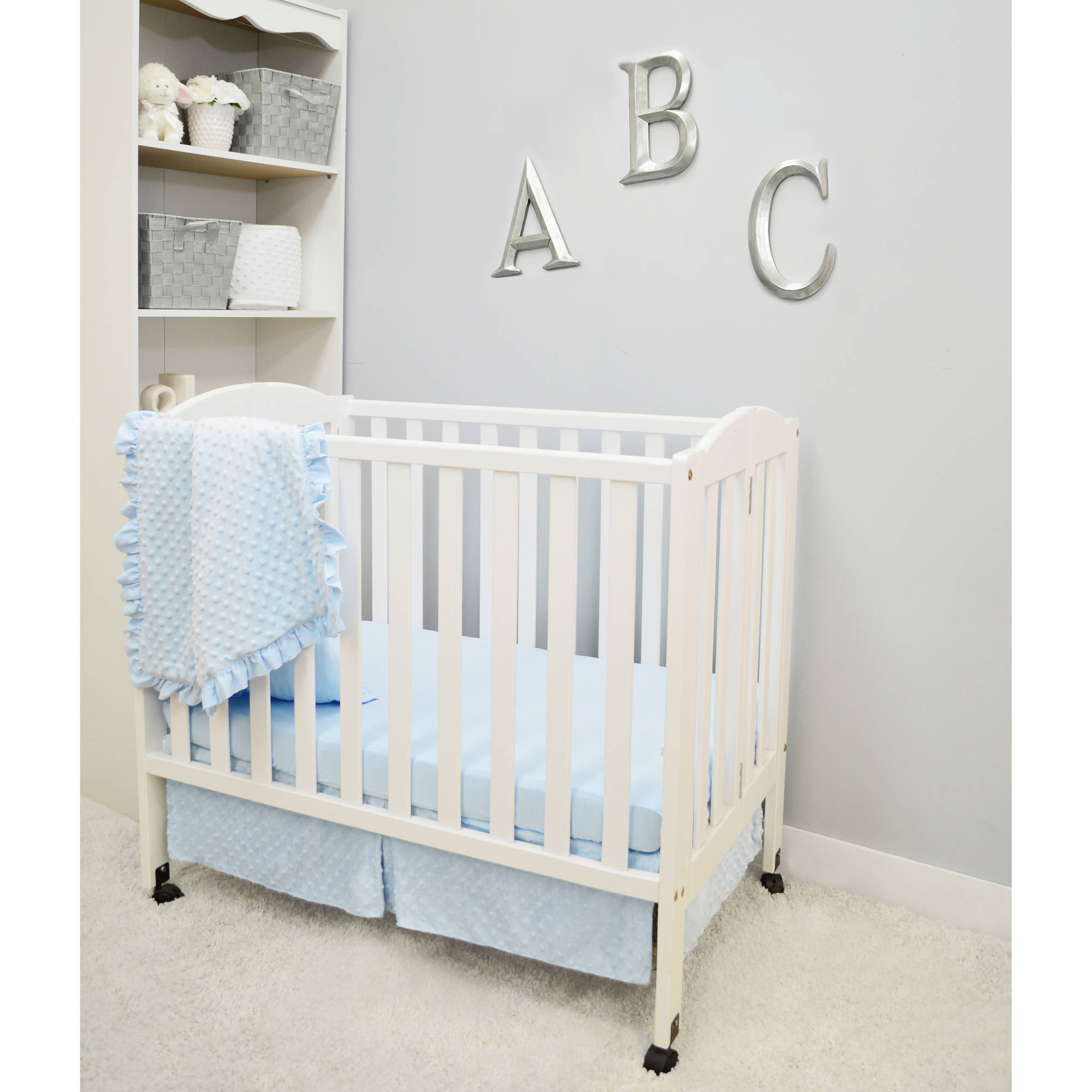 american baby company heavenly soft minky dot 3piece crib bedding set