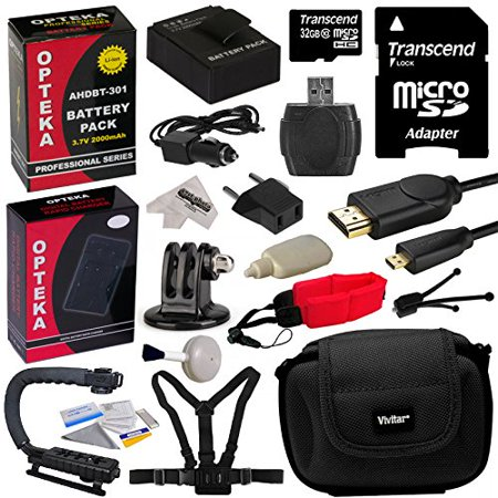 Body Bonus Kit - GoPro Action Sports Kit with 32GB MicroSDHC Memory Card, x2 AHDBT-301, Charger, HDMI Cable, Adapter, Action Stabilizing Grip, Chest Body Strap, Case, Floating Strap, Cleaning Kit with Bonus Tripod
