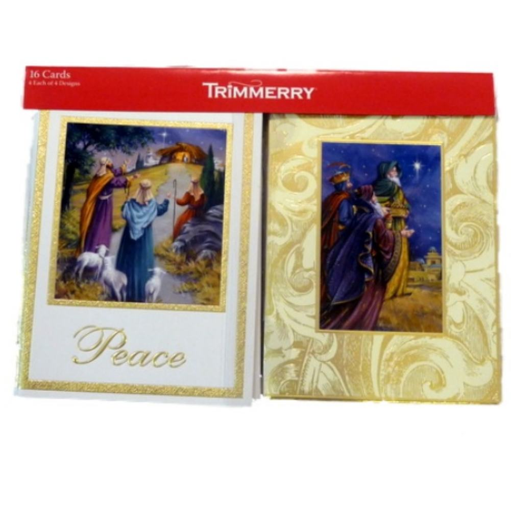 Trimmery Beige Three Wise Men Peace Manger Star Christmas Cards Holiday Xmas 3