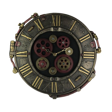 Plated Bronze Finish - Steampunk Bronze Finish Rivet Plate Wall Clock With Moving Gears