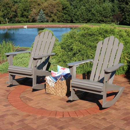Incredible Sunnydaze Outdoor Wood Adirondack Rocking Chair Gray Set Of 2 Pdpeps Interior Chair Design Pdpepsorg