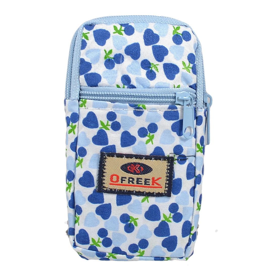 Unique Bargains Unique Bargains Blue Cherry Print 2-compartment Zip up Mp3 Cell Phone Pouch Wrist Bag