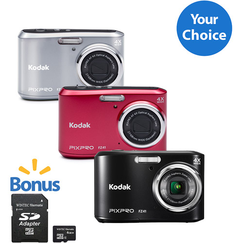 Kodak FZ43 Digital Camera with 16.15 Megapixels and 4x Optical Zoom with Bonus 8GB SDHC Card