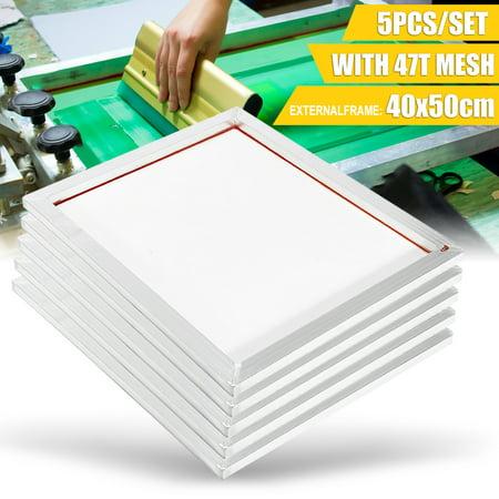5 Pack 16''x20'' 47T Mesh Aluminium Silk Screen Printing Frame Silk Print White