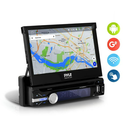 PYLE PLTDAND72 - Single DIN in Dash Android Car Stereo Head Unit w/ 7inch Flip Out Touch Screen Monitor - Audio Video Receiver System w/GPS Navigation,