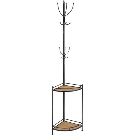 Linon Corner Metal and Wood Coat Rack, 12 Hooks, 2 Shelves